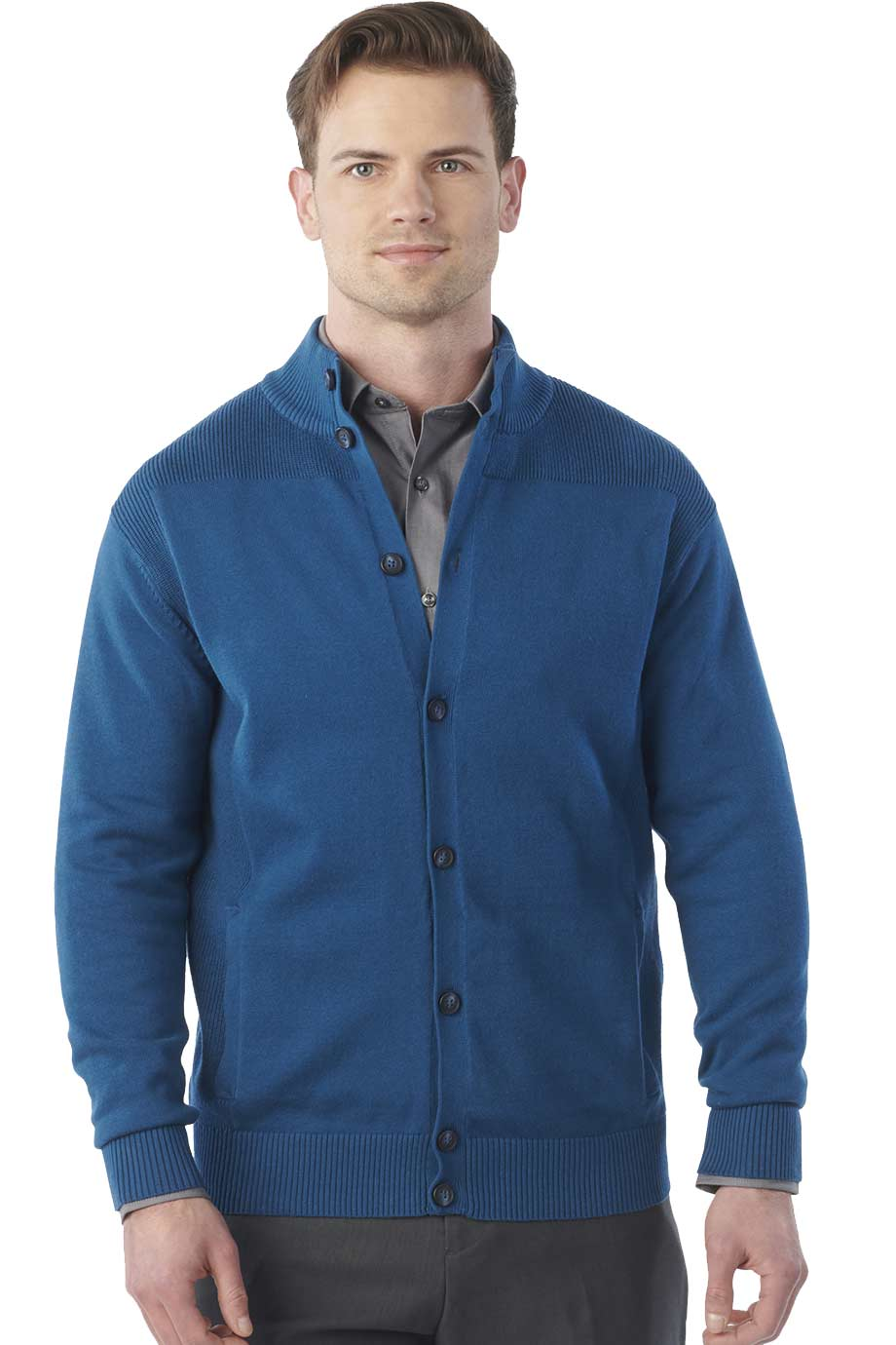 RIB COLLAR BUTTON-FRONT CARDIGAN WITH POCKETS