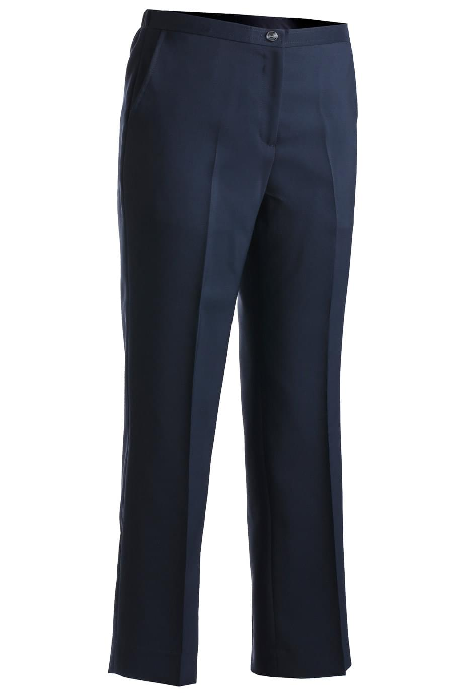 LADIES' POLYESTER FLAT FRONT PANT
