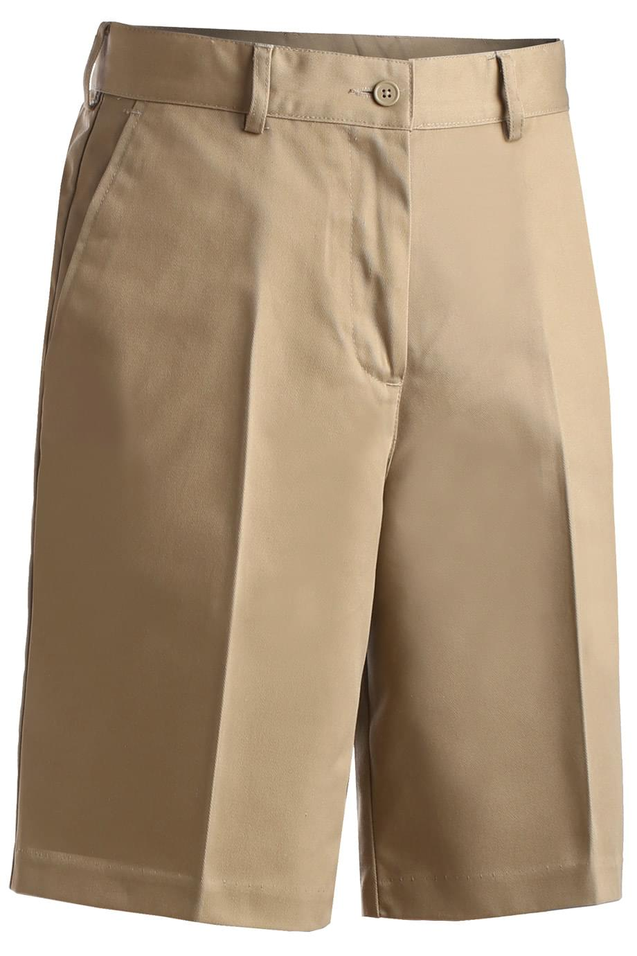 LADIES' UTILITY FLAT FRONT CHINO SHORT