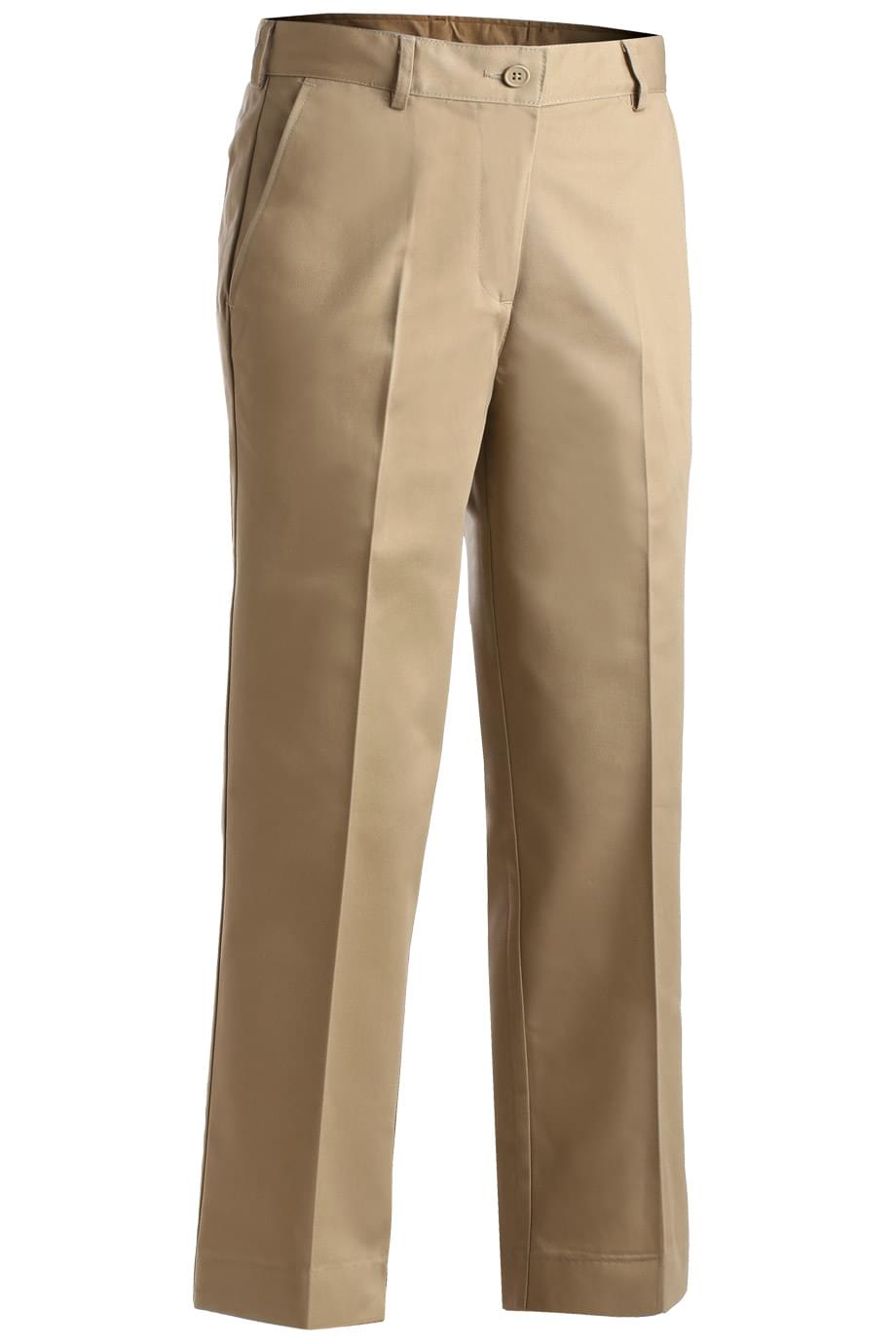 LADIES' BLENDED CHINO FLAT FRONT PANT