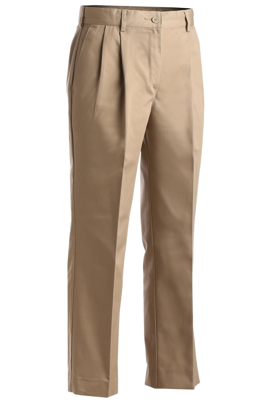LADIES' ALL COTTON PLEATED PANT