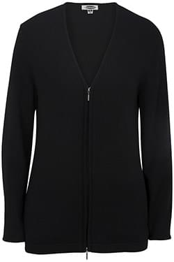FULL-ZIP V-NECK COTTON CARDIGAN